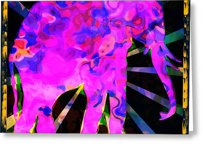Purple Abstract Greeting Cards - Pink Elephant Abstract Greeting Card by David G Paul