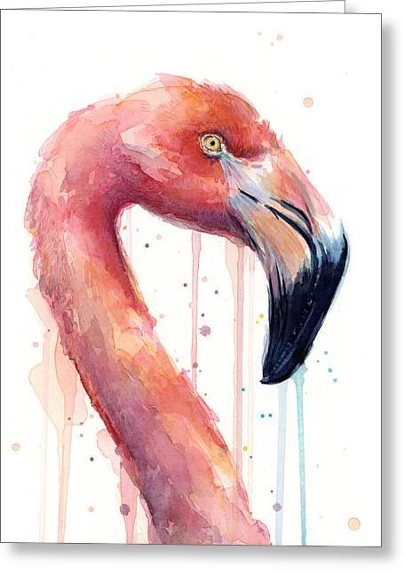 Pink Flamingo - Facing Right Greeting Card by Olga Shvartsur