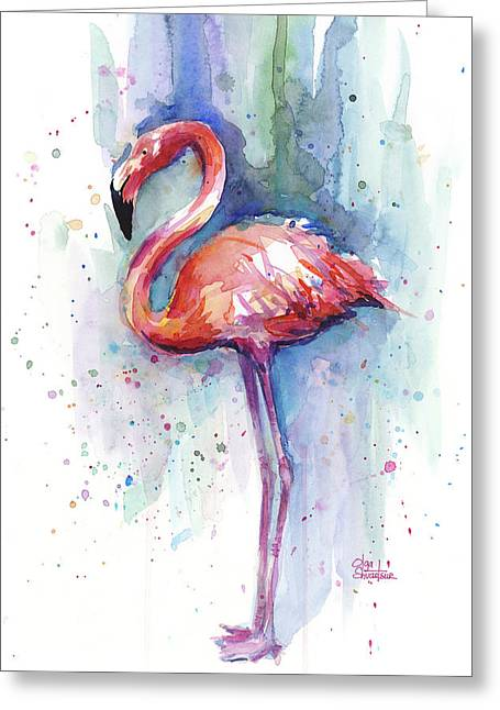 Pink Flamingo Watercolor Greeting Card by Olga Shvartsur