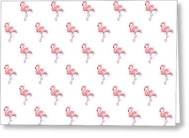 Pink Flamingo Watercolor Pattern Greeting Card by Olga Shvartsur