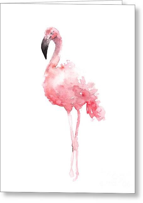 Pink Flamingo Watercolor Poster Greeting Card by Joanna Szmerdt