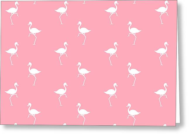 Patterned Greeting Cards - Pink Flamingos Pattern Greeting Card by Christina Rollo