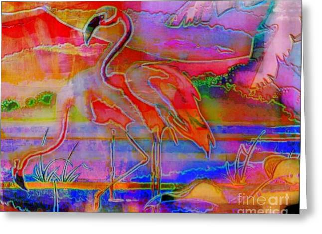 Pink Flamingos Greeting Card by WBK