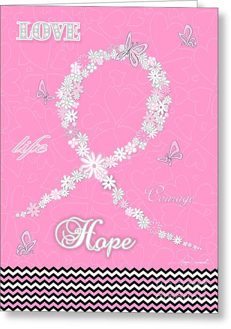 Greeting Cards For Cancer Paintings Greeting Cards - Pink Floral Breast Cancer Butterfly Design with Chevron Pattern Greeting Card by Megan Duncanson