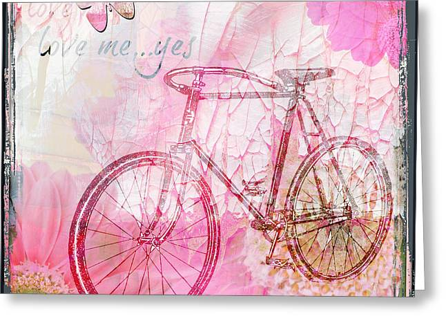 Pink Flower Bicycle Greeting Card by WALL ART and HOME DECOR
