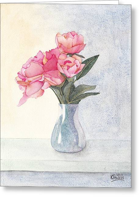 Glass Vase Greeting Cards - Pink Flowers Greeting Card by Ken Powers