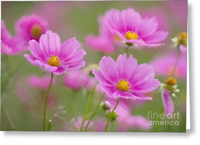 Garden Art Greeting Cards - Pink Flowers Greeting Card by Veikko Suikkanen