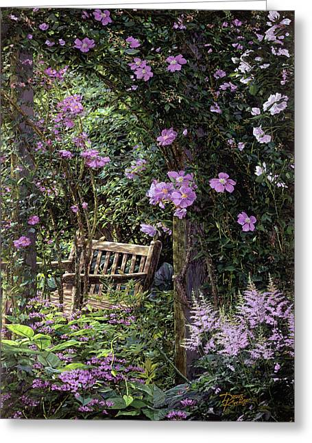 Respite Greeting Cards - Pink Garden Respite Greeting Card by Doug Kreuger