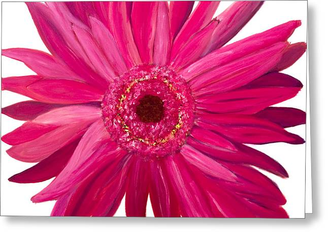 Pink Gerber Greeting Card by Chelle Fazal