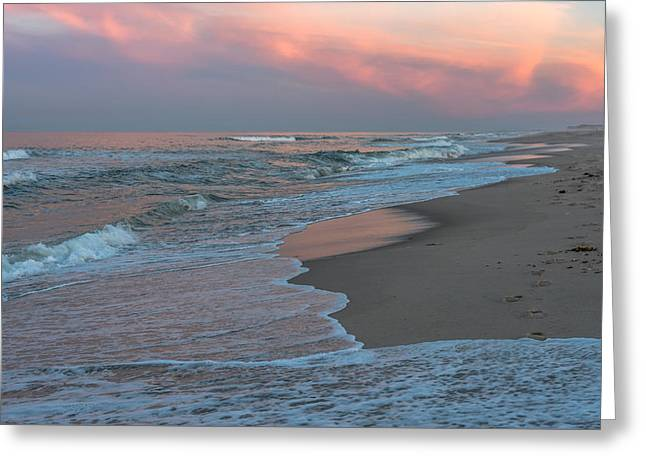 Pink Waves Greeting Cards - Pink Glow Beach Seaside New Jersey Greeting Card by Terry DeLuco