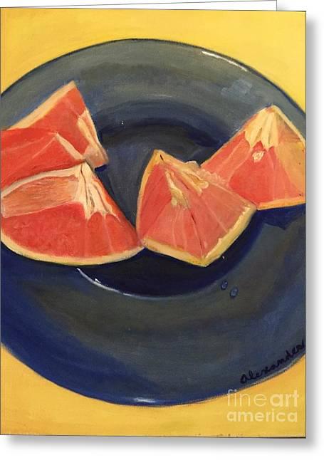 Grapefruit Paintings Greeting Cards - Pink Grapefruit Greeting Card by Jamie AT Alexander