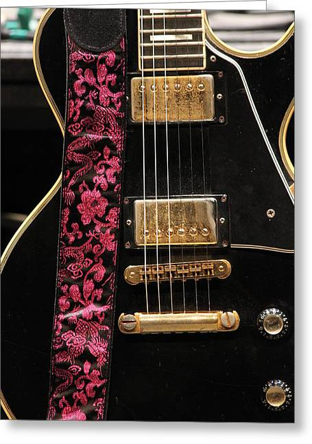 Alejandro Greeting Cards - Pink Guitar Strap Greeting Card by Lauri Novak
