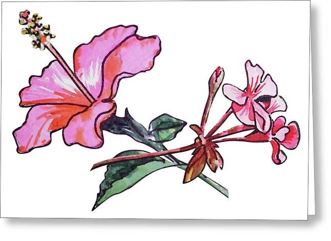 Pink Hibiscus And Geranium  Greeting Card by Irina Sztukowski