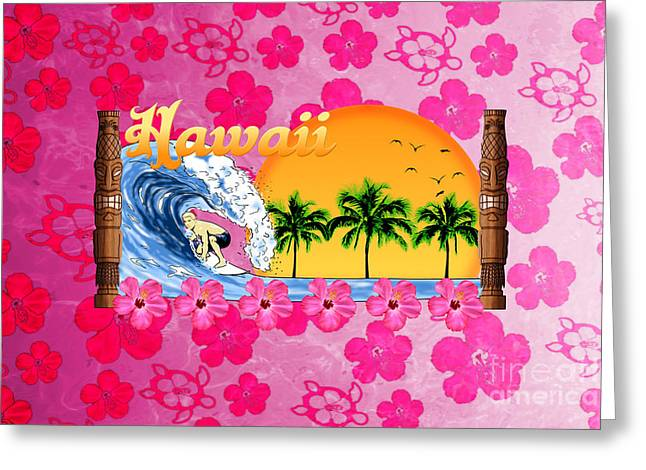 Hawaiin Greeting Cards - Pink Hibiscus Hawaiian Surfing  Greeting Card by Chris MacDonald
