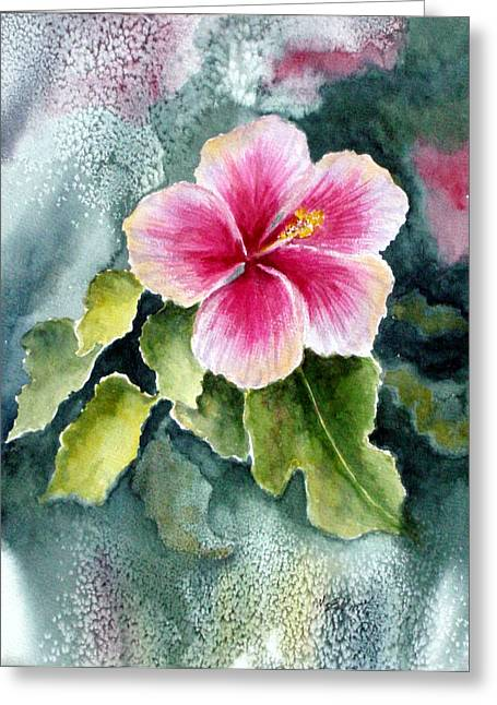 Hibiscus Greeting Cards - Pink Hibiscus Greeting Card by Marsha Elliott