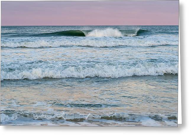Throw Down Greeting Cards - Pink Horizon Seaside New Jersey Greeting Card by Terry DeLuco