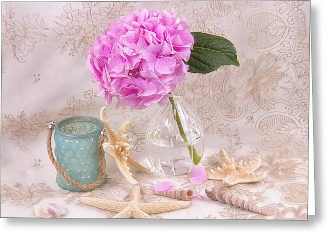 Glass Vase Greeting Cards - Pink Hydrangea With Sea Shell Greeting Card by Daphne Sampson