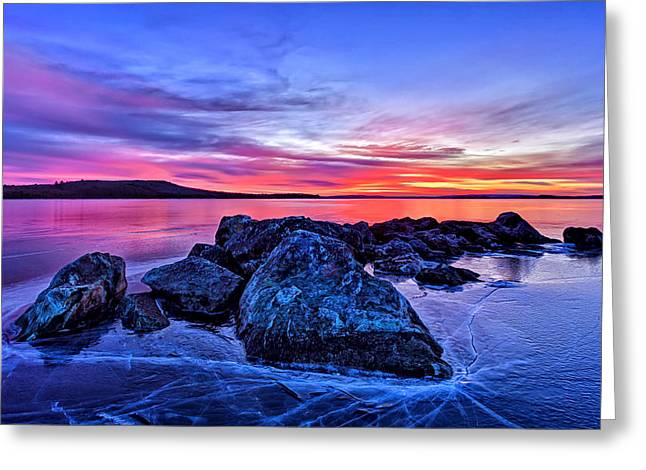 New England Winter Greeting Cards - Pink Ice at Dawn Greeting Card by Bill Caldwell -        ABeautifulSky Photography