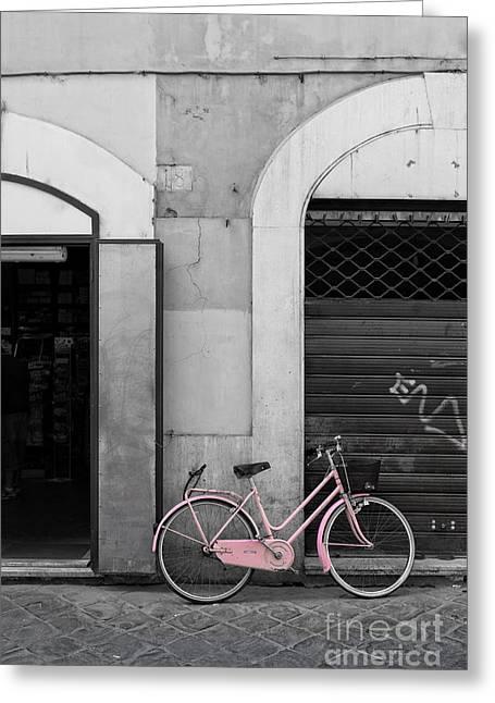 Pink Italian Bike Greeting Card by Edward Fielding