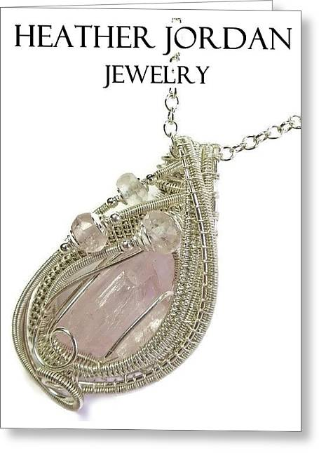 Woven Jewelry Greeting Cards - Pink Kunzite Pendant in Sterling Silver with Morganite KNZSS6 Greeting Card by Heather Jordan