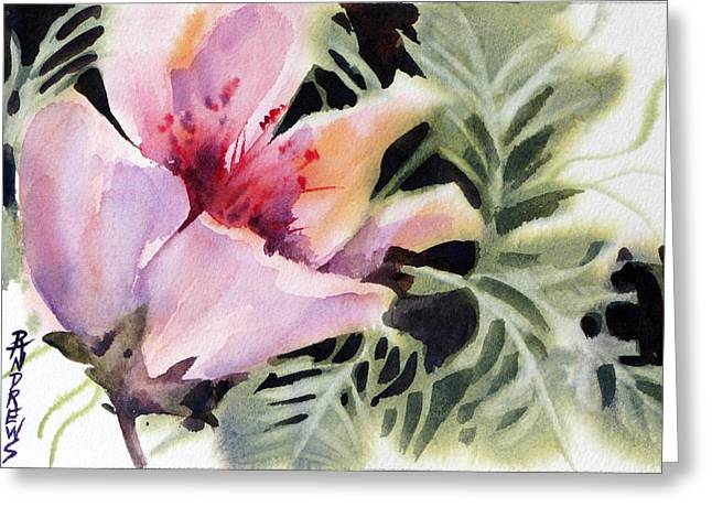 Wet Into Wet Watercolor Greeting Cards - Pink Lady Greeting Card by Rae Andrews