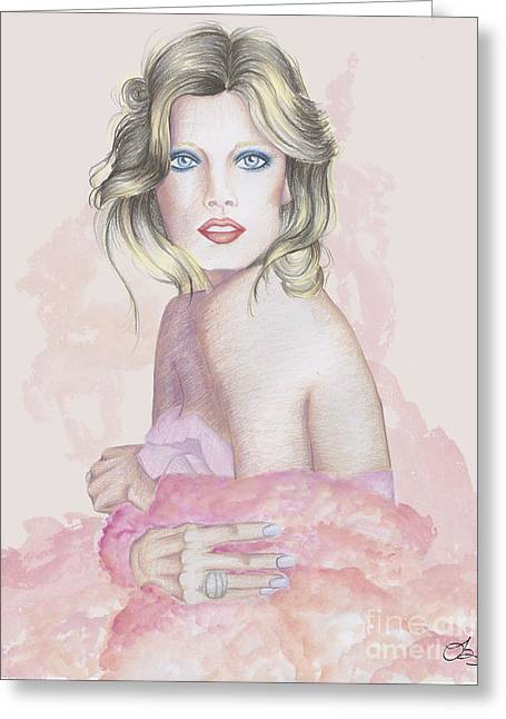 Editorial Drawings Greeting Cards - Pink Lady Greeting Card by Samantha Burns