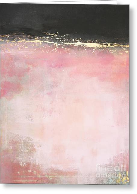 Award Mixed Media Greeting Cards - Pink Light - Abstract in pink gold and black Greeting Card by Anahi DeCanio