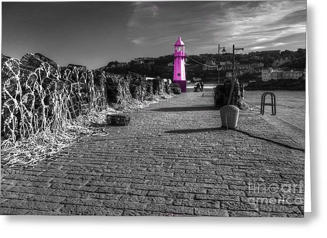 Lobster Pot Greeting Cards - Pink Lighthouse of St Ives Greeting Card by Rob Hawkins