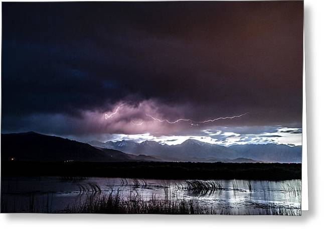Storm Clouds Greeting Cards - Pink Lightning Greeting Card by Cat Connor