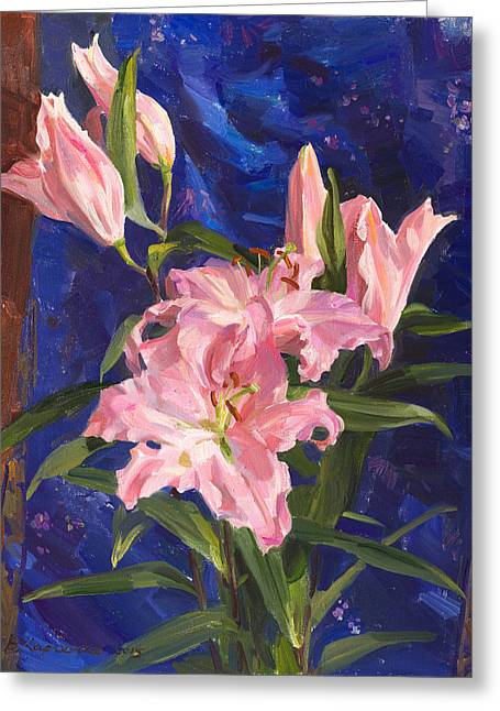 Flower Still Life Greeting Cards - Pink lilies and Chinese silk Greeting Card by Victoria Kharchenko