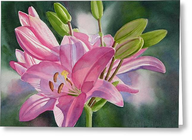 Pink Lily With Buds Greeting Card by Sharon Freeman