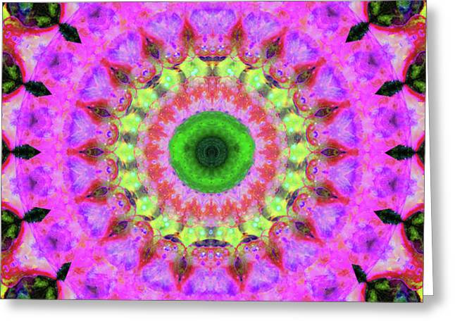 Pink Love Mandala Art By Sharon Cummings Greeting Card by Sharon Cummings