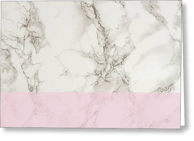 Pink Marble Greeting Card by Suzanne Carter