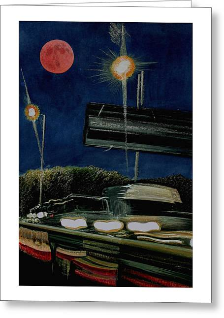 Night Lamp Mixed Media Greeting Cards - Pink Moon M42 Greeting Card by Adrian Jones