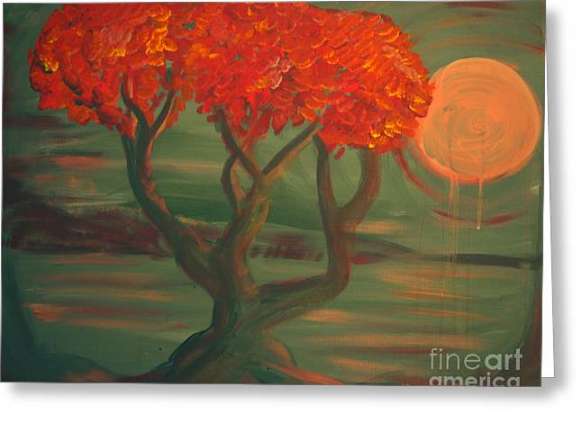 Sea Moon Full Moon Greeting Cards - Pink Moon Tree Greeting Card by G Whiteford
