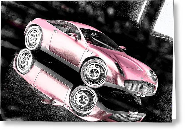 Women Only Greeting Cards - Pink Muscle Car Greeting Card by Maurice Gold