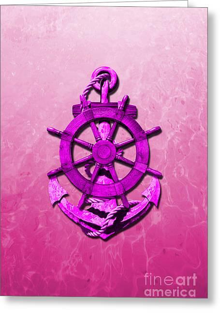 Sailing Ship Greeting Cards - Pink Nautical Ships Wheel And Anchor Greeting Card by Chris MacDonald