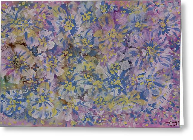 Pink on Blue Greeting Card by Don  Wright