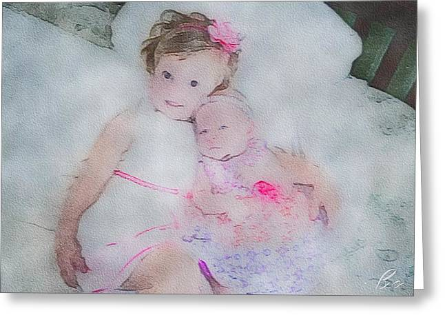Sisters Tapestries - Textiles Greeting Cards - Pink on Pink Greeting Card by Bryann Cole
