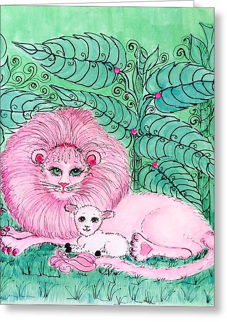 Lion And The Lamb Greeting Cards - Pink Paradise Greeting Card by Rosemary Woods