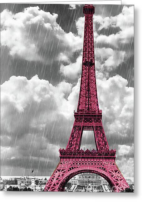 Paris In Lights Greeting Cards - Pink Paris Greeting Card by Mindy Sommers