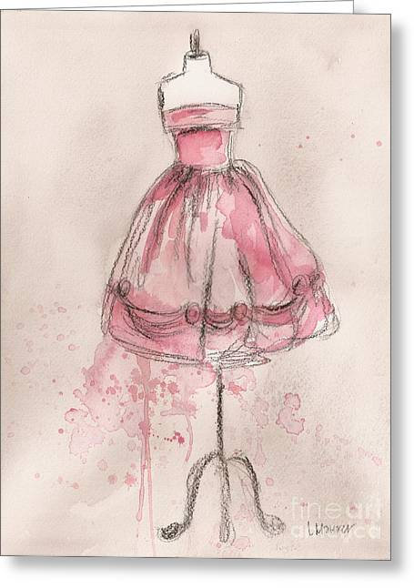 Charcoal Paintings Greeting Cards - Pink Party Dress Greeting Card by Lauren Maurer