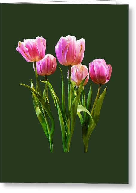 Tulips Greeting Cards - Pink Pastel Tulips Greeting Card by Susan Savad