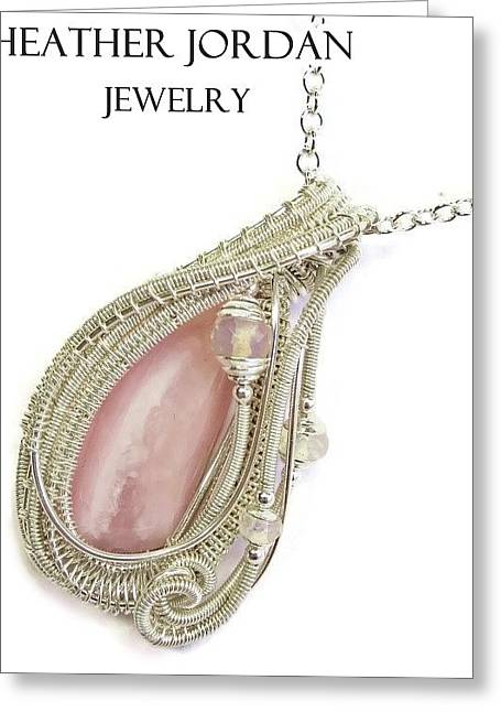 Jordan Jewelry Greeting Cards - Pink Peruvian Opal Pendant in Sterling Silver with Ethiopian Opals PPOSS2 Greeting Card by Heather Jordan