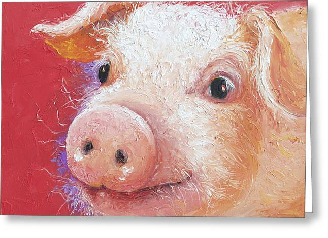 Lovers Art On Print Greeting Cards - Pink Pig painting Greeting Card by Jan Matson