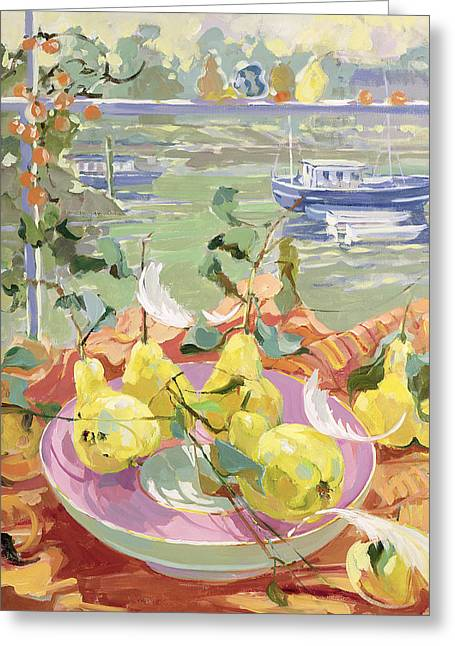 Tug Greeting Cards - Pink Plate of Pears Greeting Card by Elizabeth Jane Lloyd