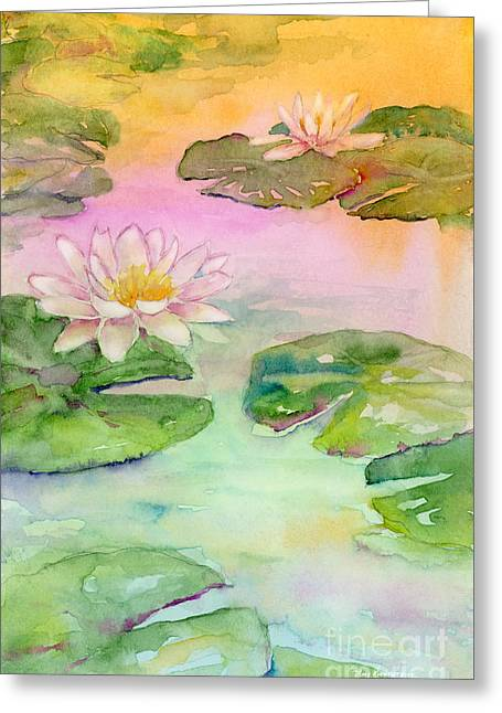 Lotus Lily Greeting Cards - Pink Pond Greeting Card by Amy Kirkpatrick