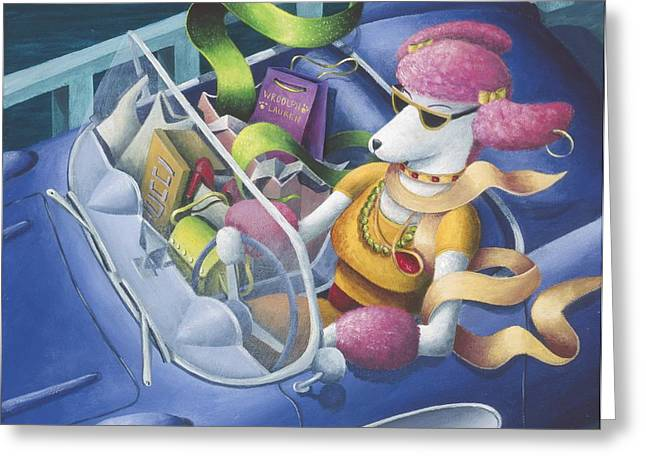 Pink Shoes Greeting Cards - Pink Poodles Day Out Greeting Card by Eva Folks