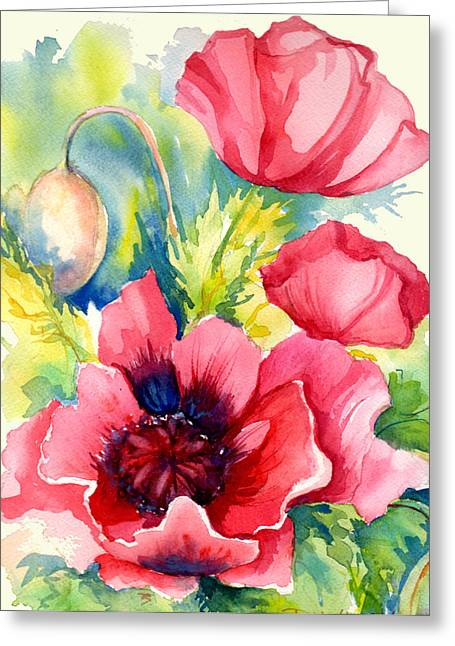 Paintng Greeting Cards - Pink Poppies Greeting Card by Peggy Wilson