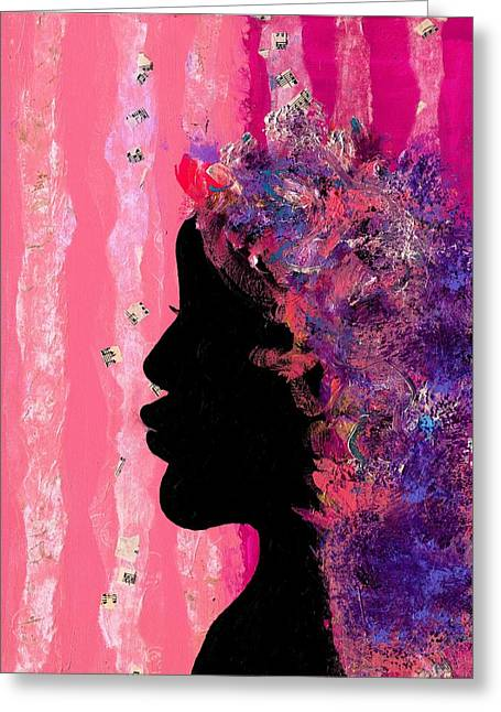 Disability Paintings Greeting Cards - Pink Profile Greeting Card by Empowered Creative Fine Art